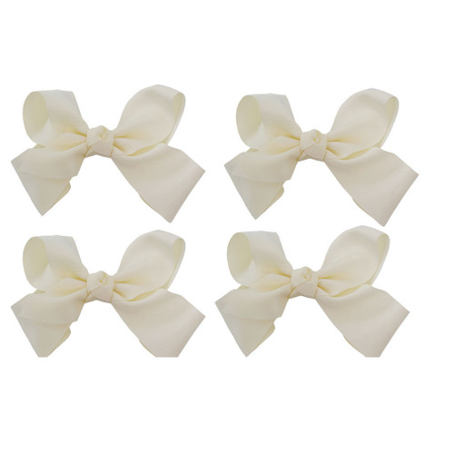 Ivory Grosgrain Hair Bows with XL Alligator Clip Set of 4