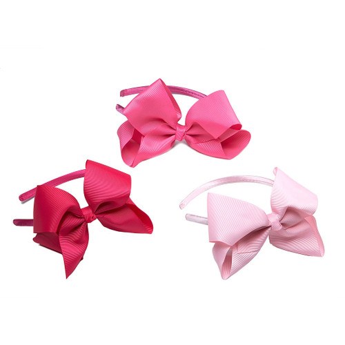 Pretty and Pink Grosgrain Ribbon Bow Headband Set of 3