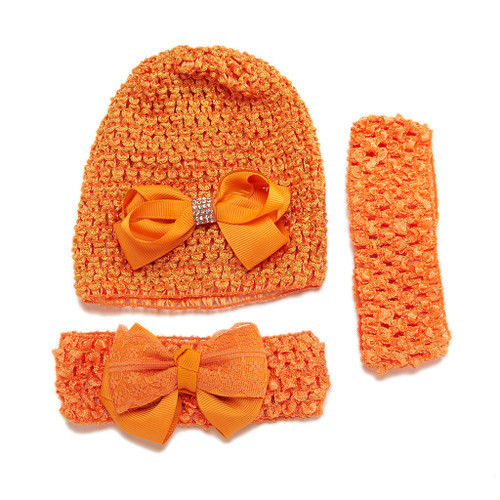 Littlest Lop Set of 3 Infant Crochet Cap and Headbands