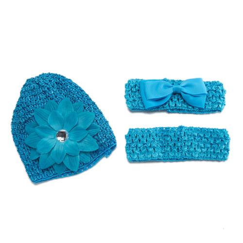 Radiant Rabbit Set of 3 Infant Crochet Cap and Headbands