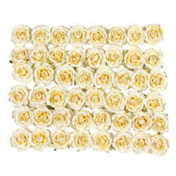 Delicate Small-Size Handmade Roses in Light Yellow Set of 48 Roses