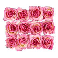 Short Stem Handmade Roses in Dark Pink One Dozen