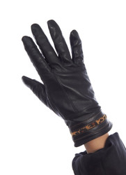 Joyride Etouch Leather Gloves with Leopard Trim E-touch