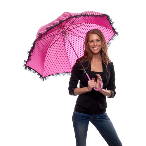 Preppy Pink Polka Dot Parasol Umbrella with Organza Trim