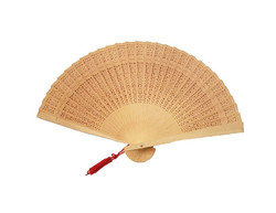 Bamboo Carved Wood Folding Fan with Tassel