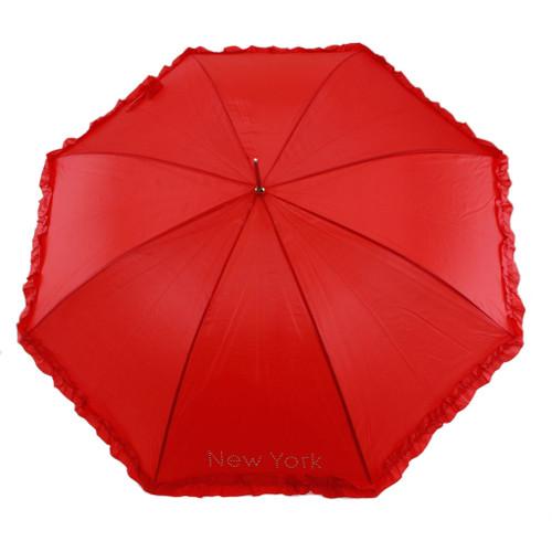 Red Ruffle Umbrella