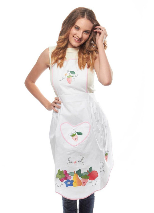 Fabulous Fruit Applique Cotton Apron in White with Pink Trim