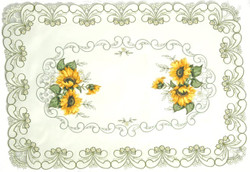 Sunflower Applique Floral Lace Placemats-Set of 2