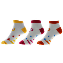 Rising Star and Heart Ladies Anklet Socks Set of 3
