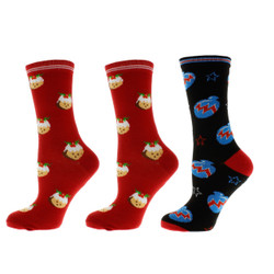 HoHoHo Merry Christmas Ladies Socks Set of 3
