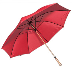 Golf Umbrella in Red with Wooden Shaft