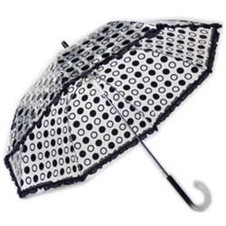 Black Designer Polka Dot Ruffle Umbrella with Black Trim