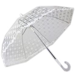 White Designer Polka Dot Ruffle Umbrella with White Trim