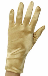 Gold Short Wrist Satin Gloves
