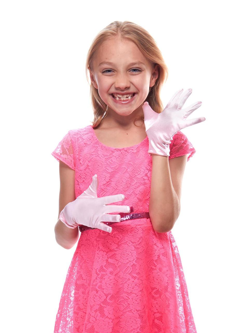 Girl/'s Fancy Shiny Stretch Satin Dress Gloves-Wrist length Various Colors Sizes