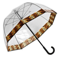 Couture Fiberglass Frame Bubble Umbrella with Tiger Trim