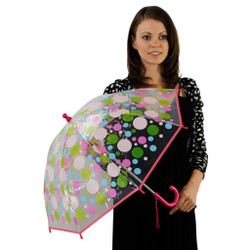 Clear Girls Umbrella with Multi Colored Bubble Dot Background