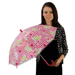 Fairy Princess Childrens Umbrella with Pink Plaid Background