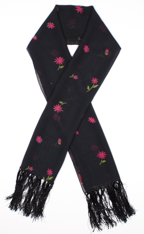 Black with Red Flowers