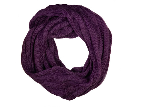 Purple Knitted Infinity Scarf