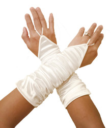 White  Fingerless Ruched Gloves Back Photo