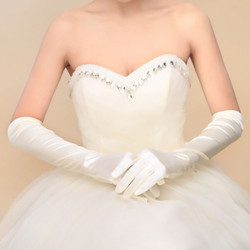 15 inch Long Gloves Color: White