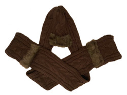Cozy Brown Knitted  3 in 1 Hat and Scarf