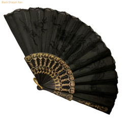 Black Embroidered Dragon Fan