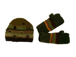 Matching green winter wool hat and mittens