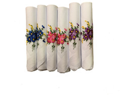 Spring Floral Embroidered  Women's Handkerchief (Pack of 6)
