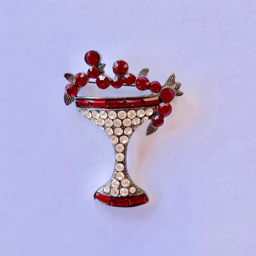 Silverstone plated brass hardware...Martini silhouette with glass Red Genuine Crystal.