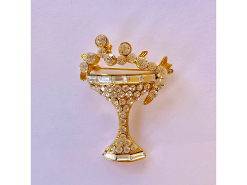 This Martini Glass Brooch is Genuine Crystal  Measures about 1.7 x 1.6 Inches tall.