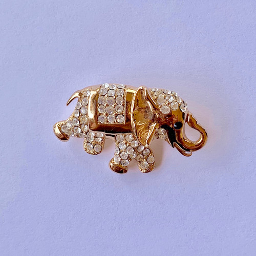 Genuine  Crystal Elephant Brooch Pin