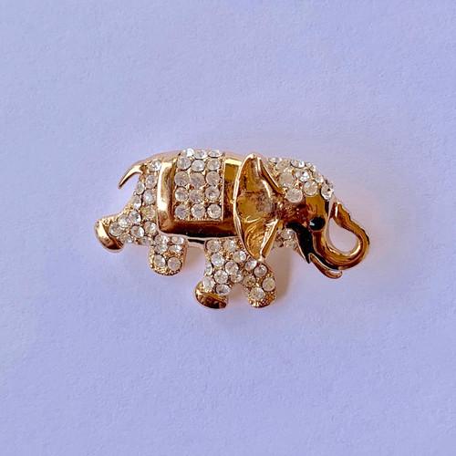 Genuine  Crystal Elephant Brooch Pin
