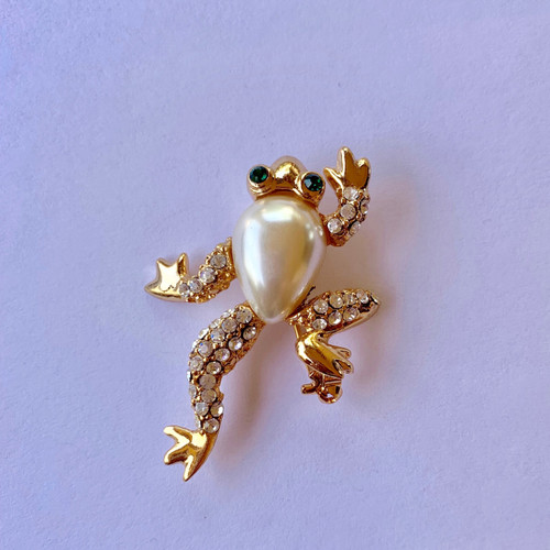 Whimsical frog brooch Pin