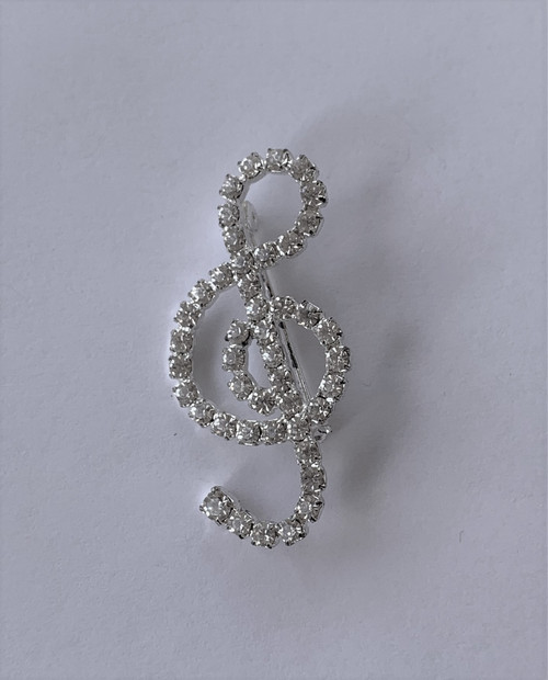 Music Note Crystal Pin Brooch
