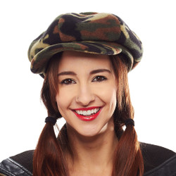 Field Reporting Fleece Camo Newsboy Cap for Ladies