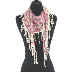 Phoebe Triangle Scarf with Crochet Lace Trim