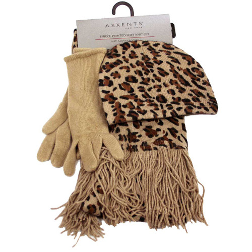96f961bd40b7a Animal Print Hat Gloves and Scarf Set