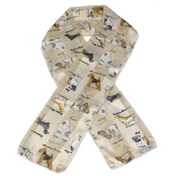 Long Satin Scarf With Various Dog Breeds In Ivory Or Champagne