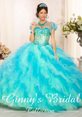 Vizcaya by Mori Lee Quinceanera Dress 88090, Blue Mist, Size 10 on SALE