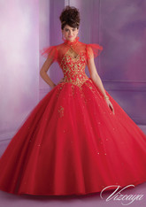 Vizcaya by Mori Lee Quinceanera Dress 89015, Stiletto Red/Gold, Size 10 on SALE
