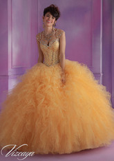 Vizcaya by Mori Lee Quinceanera Dress 89014, Gold, Size 8 on SALE