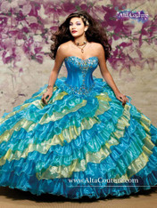 Alta Couture by Mary's Quinceanera Dress 4T101, Turquoise/Canary, Size 6 on SALE