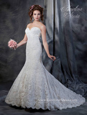 Karelina Sposa Exclusive by Mary's Bridal Wedding Dress C8040 Ivory Size 14 on Sale