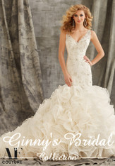 AF Angelina Faccenda Couture by Mori Lee Wedding Dress 1354 Ivory Size 18 on Sale