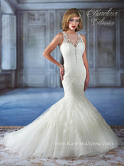 Karelina Sposa Exclusive by Mary's Bridal Wedding Dress C7972 Ivory Size 12 on Sale