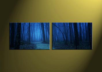 Landscape Art, two piece wall art, night wall art, forest wall art, wall art