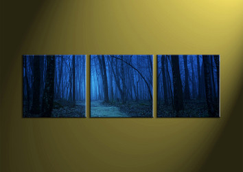 Landscape Art, 3 piece art, wall art, forest wall art, night wall art