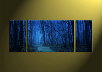Landscape Art, Triptych art, Scenery Art, forest wall art, night wall art